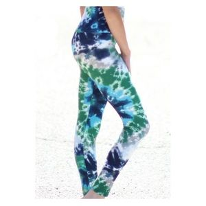 OS Blue Green White Stretch Tie Dye Leggings NWT
